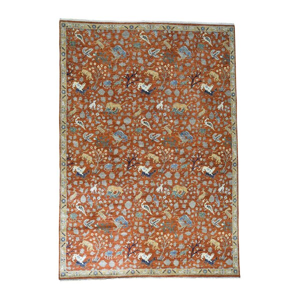 One-of-a-Kind Saltzman Hunting Hand-Knotted Red Area Rug by Astoria Grand