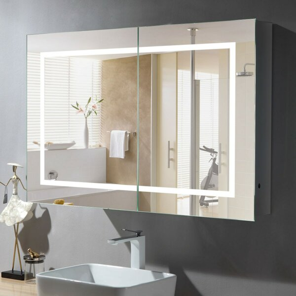 Bastion Surface Mount Frameless 2 Door Medicine Cabinet with LED Lighting