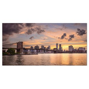 New York City Skyline under Dark Clouds Cityscape Photographic Print on Wrapped Canvas by Design Art