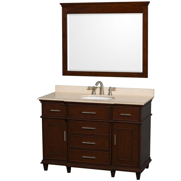 Berkeley 48 Single Dark Chestnut Bathroom Vanity Set with Mirror by Wyndham Collection
