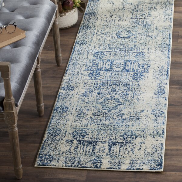 Willa Arlo Interiors Huma Abstract Blue Ivory Area Rug