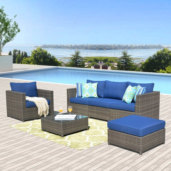 Panorama 6 Piece Rattan Sectional Seating Group with Cushions by Latitude Run Latitude Run