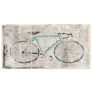 'Bicycle on Newsprint' 3 Piece Graphic Art Wall Plaque Set by Zipcode Design