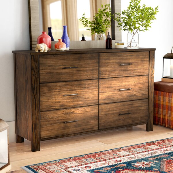 Spencyr 6 Drawer Double Dresser with Mirror by Gracie Oaks