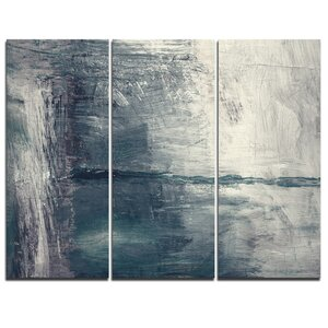 Grey Abstract Pattern Oil Painting - 3 Piece Painting Print on Wrapped Canvas Set by Design Art