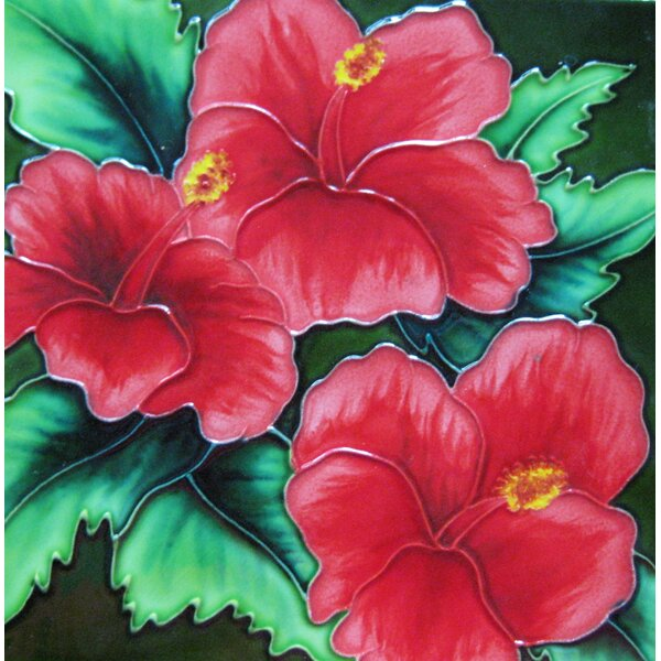 8 x 8 Ceramic Three Hibiscus Flower Decorative Mural Tile by Continental Art Center