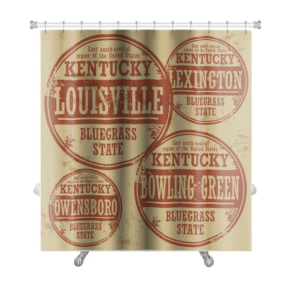 Vintage Grunge Rubber Stamp Set with Names of Kentucky Cities Premium Shower Curtain by Gear New