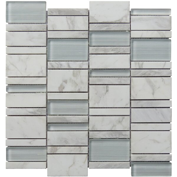 Random Sized Natural Stone Mosaic Tile in White by Intrend Tile