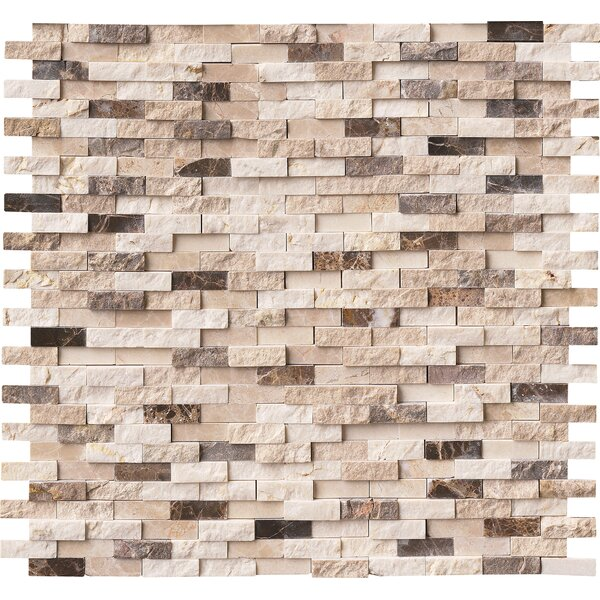 Emperador Blend Splitface Marble Mosaic Tile in Brown by MSI