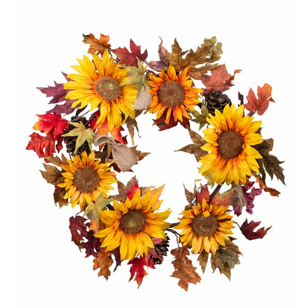 Burlap Pine Artificial Sunflower 24 Wreath by The Holiday Aisle