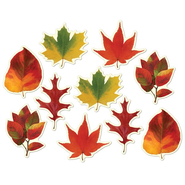 12 Piece Fall/Thanksgiving Mini Leaf Cutout Set by The Holiday Aisle