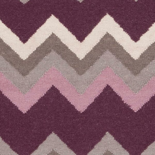 Diego Prune Purple/Flint Gray Chevron Area Rug by Ebern Designs