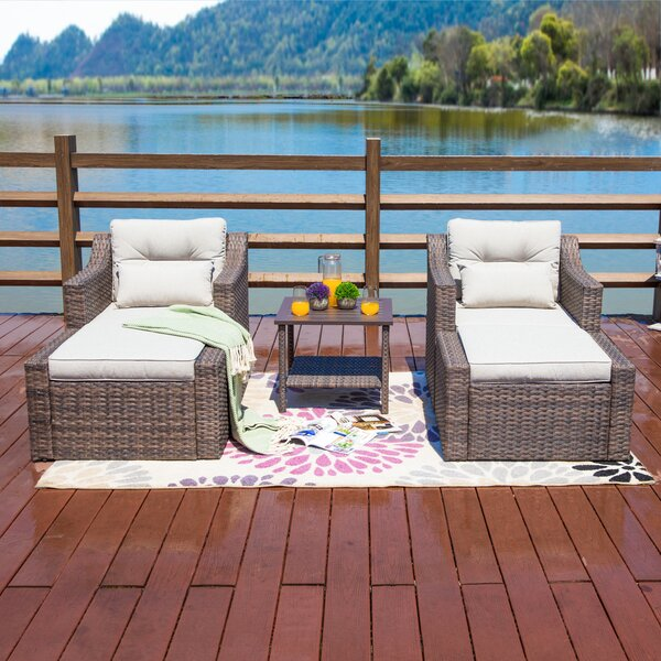Kurz 3 Piece Seating Group with Cushions by Highland Dunes