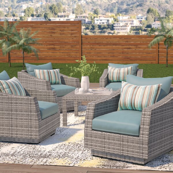Melinda 5 Piece Rattan Sunbrella Seating Group with Cushions by Wade Logan