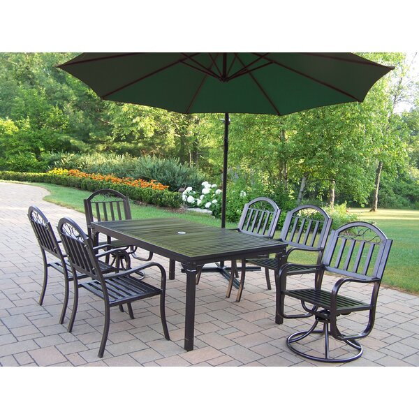 Lisabeth 7 Piece Swivel Dining Set with Umbrella by Red Barrel Studio
