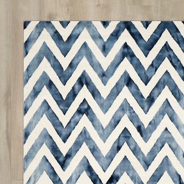 Crux Hand-Tufted Ivory & Navy Area Rug by Mercury Row