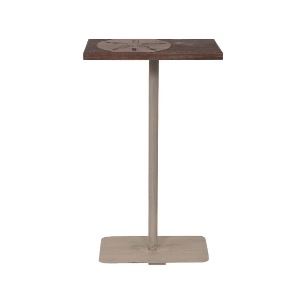 Isenhour Sand Dollar Accent Wood Top End Table by Highland Dunes