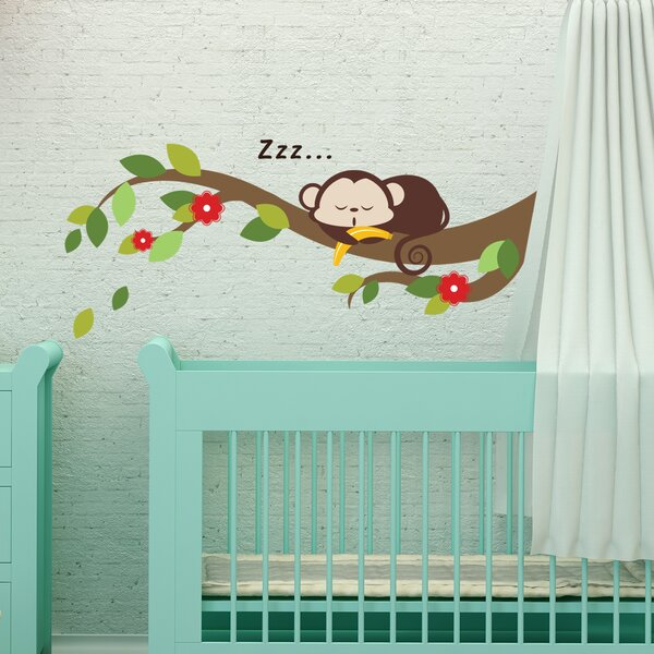 Sleeping Monkey and Tree Branch 42 PIece Wall Decal Set by Zoomie Kids