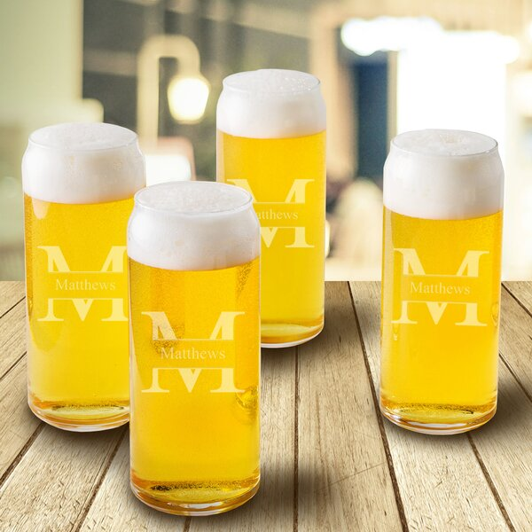 Stamped Monogram 16 Oz. Tall Boy Glass (Set of 4) by JDS Personalized Gifts
