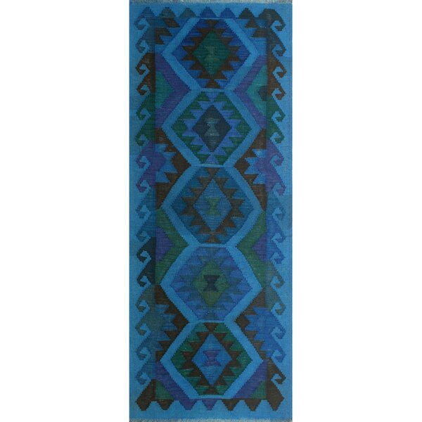 Earle Hand-Knotted Wool Blue/Green Area Rug by Bloomsbury Market