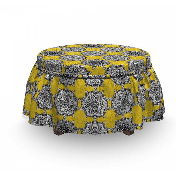 Old Damask Ornaments Ottoman Slipcover (Set Of 2) By East Urban Home