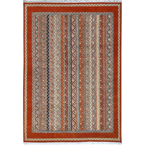One-of-a-Kind Abner Hand-Knotted Wool Rust/Blue Area Rug by Isabelline