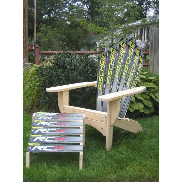 Snow Solid Wood Adirondack Chair with Ottoman by Ski Chair