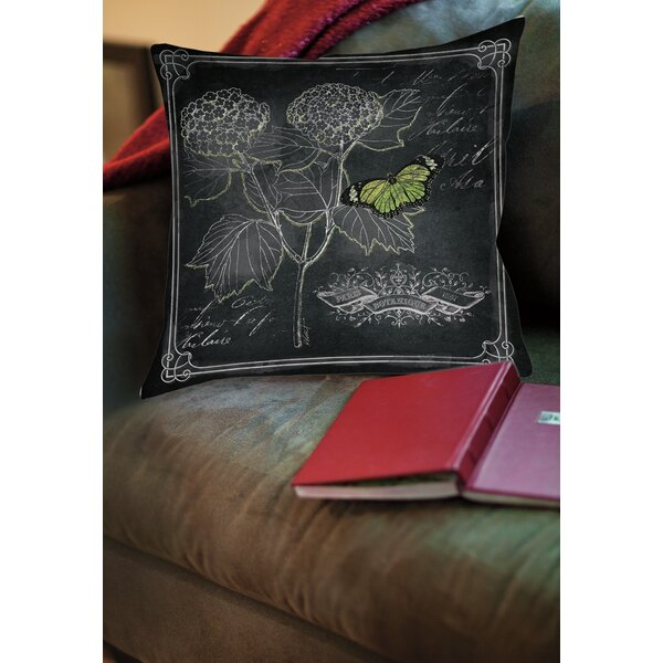 Chalkboard Botanical 1 Printed Throw Pillow by Manual Woodworkers & Weavers