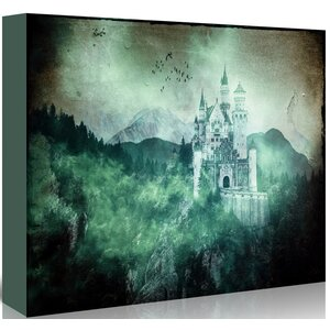 'Neuschwanstein Alpes Mountains Forest Castle' Graphic Art Print on Canvas by East Urban Home