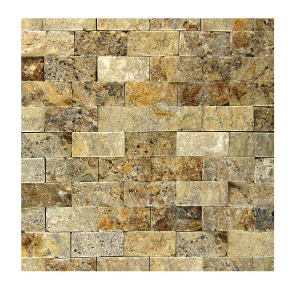 1 x 2 Natural Stone Mosaic Splitface Tile in Fantastico by QDI Surfaces