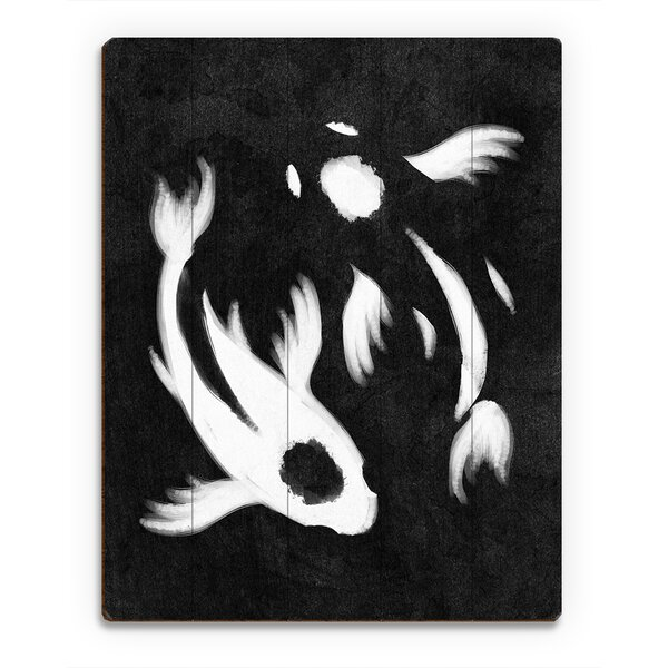 Yin-Yang Koi Painting Print on Plaque in Black by Click Wall Art