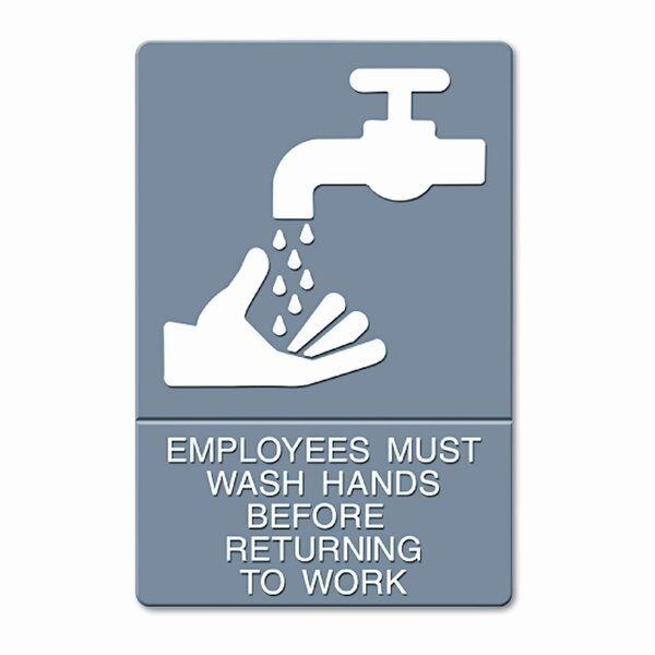 Headline Sign Ada Sign, Employees Must Wash Hands... Tactile Symbol/Braille by GBC®