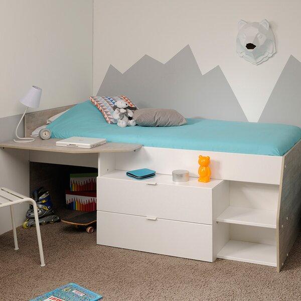Milky Twin Low Loft Bed by Parisot