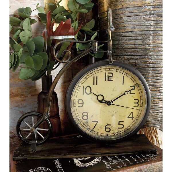 Rustic Penny Farthing Bicycle Metal Tabletop Clock by Winston Porter