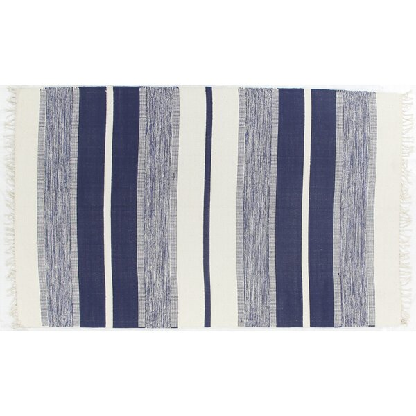 Soft Flat Weave Hand-Woven Cotton Navy Area Rug by Exquisite Rugs
