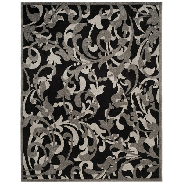 Maritza Power Loomed Anthracite/Light Gray Indoor/Outdoor Area Rug by Willa Arlo Interiors