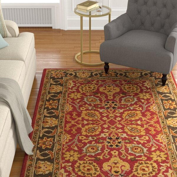 Kuhlman Hand-Woven Wool Red/Gold Area Rug by Astoria Grand