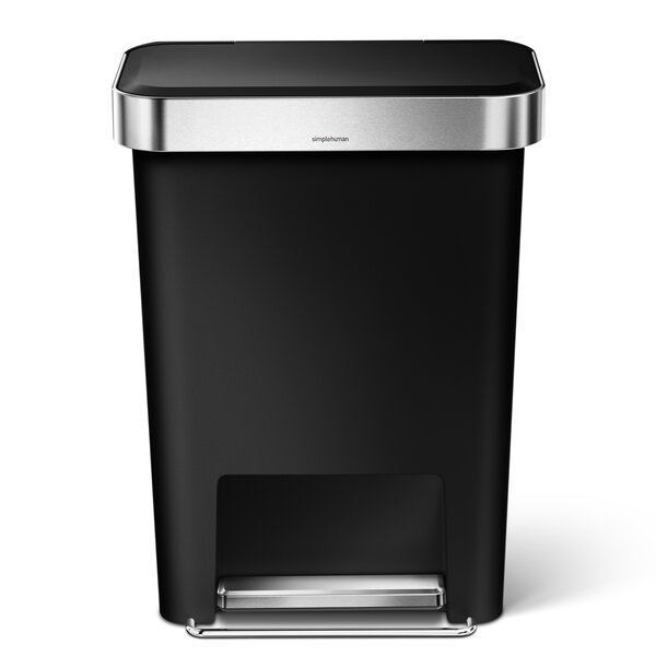 11.9 Gallon Rectangular Step Trash Can with Liner Pocket, Plastic by simplehuman