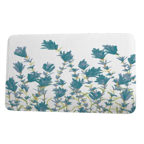 Lossett Lavender Rectangle Non-Slip Floral Bath Rug