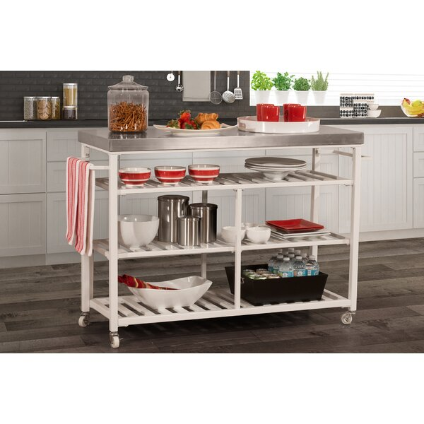 Geary Kitchen Island with Stainless Steel Top by August Grove
