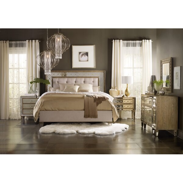 Sanctuary King and California King Mirrored Upholstered Headboard by Hooker Furniture