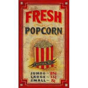 Popcorn Vintage Advertisement Plaque by Red Horse Arts