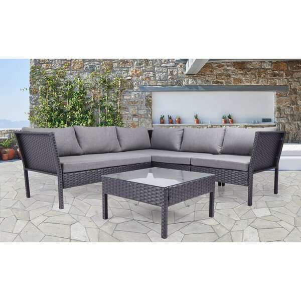 Eveloe 4 Piece Sectional Seating Group with Cushions by Alcott Hill