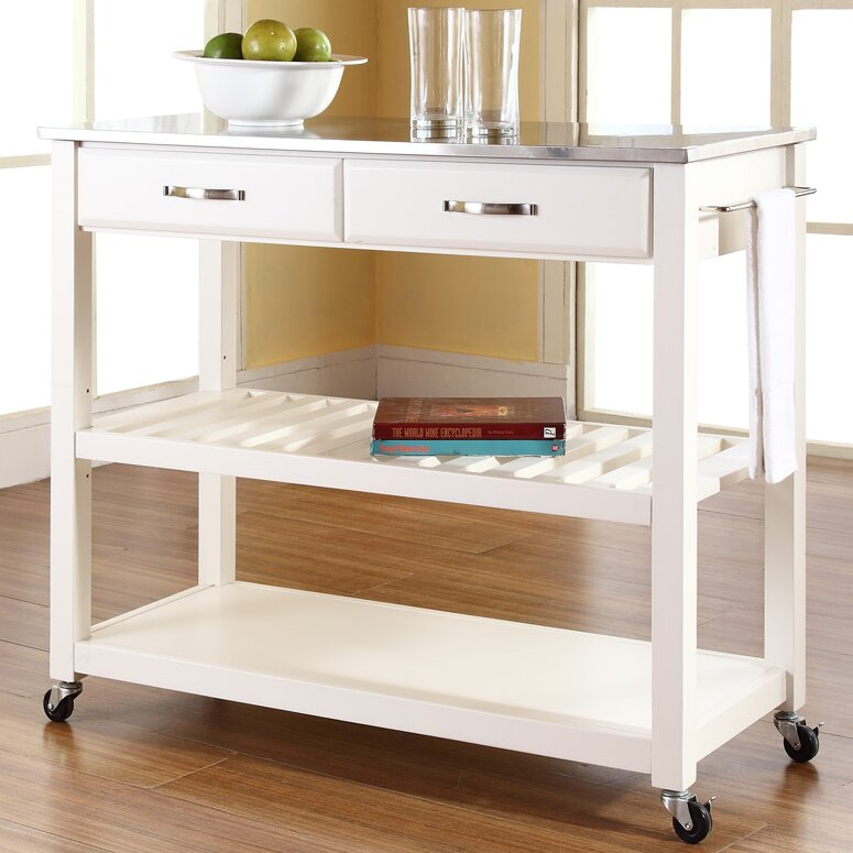 Three Posts Gothard Kitchen Island with Stainless Steel Top & Reviews |  Wayfair