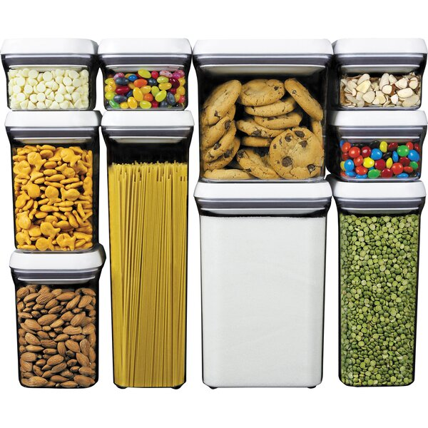 Good Grips Pop 10 Container Food Storage Set By Oxo.