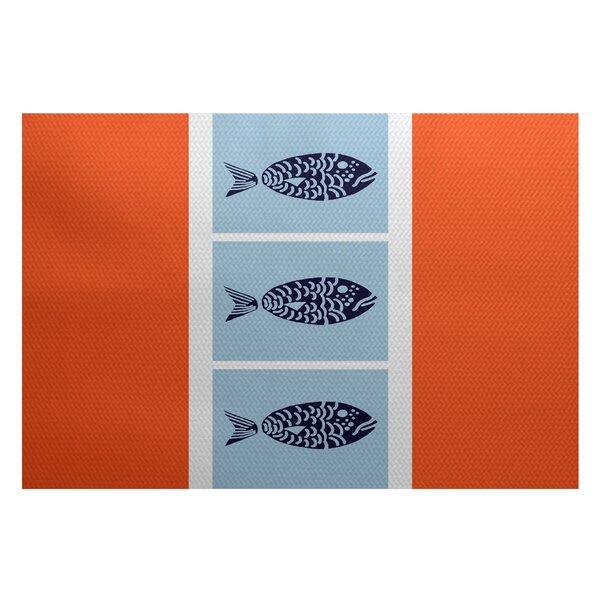 Bartow Orange/Blue Indoor/Outdoor Area Rug by Breakwater Bay
