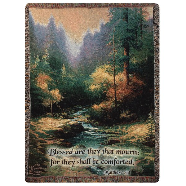 Creekside Trail Verse Tapestry Cotton Throw by Manual Woodworkers & Weavers