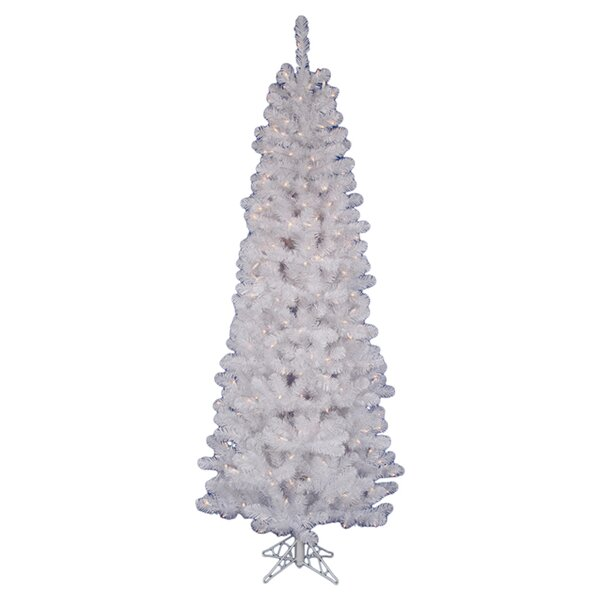 White Salem Pencil Pine Artificial Christmas Tree White Lights with Stand by Vickerman
