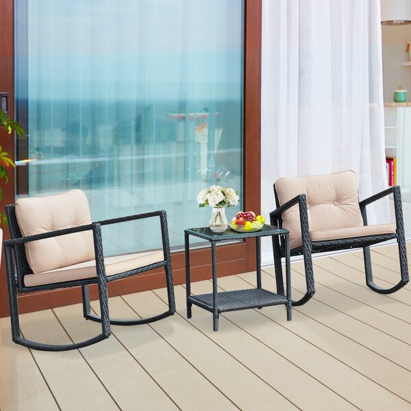 Pineview 3 Piece Rattan Seating Group with Cushions by Bay Isle Home