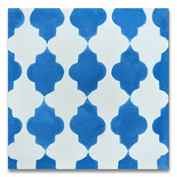 Tafraout 8 x 8 Handmade Cement Tile in Blue/White by Moroccan Mosaic